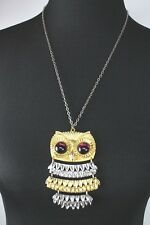 """Vtg Goldette Owl Necklace Articulated Purple Stone Eyes 24"""" Chain Gold Silver"""
