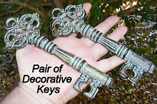 Set of 2 Solid Cast Iron Keys - Rustic Ornament - French Country - Green - DK13