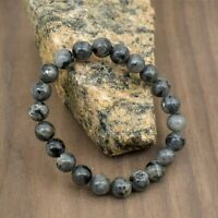Natural 8 mm Black Labradorite Bead Bracelet-5 inch to 9 inch-Necklace Available