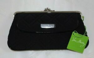 VERA BRADLEY Large Clutch Wallet Double Kisslock Classic Black Microfiber - NWT