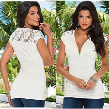 Sexy Womens Short Sleeve Evening Party T-Shirt Ladies Summer Stretch Tops Blouse