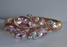 KIRKS FOLLY  PINK  CRYSTAL BRACELET IN GOLD TONE LAST ONE
