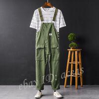 Men Retro Pockets Loose Cargo Jumpsuit Overall Baggy Suspender Bib Pants Trouser