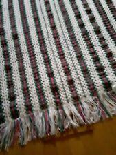 handmade crocheted afghan done in dusty rose/green/white