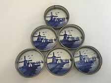 "6 Vintage Germany Delft Blue Porcelain Ceramic w/Metal Rimmed Cup Coasters, 3"" D"