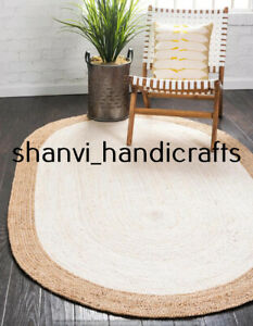 Braided Natural Hand Woven Jute Rug Oval Home Decor 36x48 Inches Area Rug Carpet
