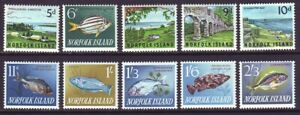 Norfolk Island 1966 SC 49-60 MH Set Fish, Scenery