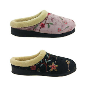 Panda Endy Ladies Slippers Embroidered Slip on Mule Slipper Soft Lined Comfy