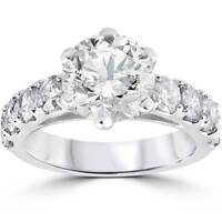 Large 4 1/2ct Round Enhanced Diamond Engagement Ring 14K White Gold Solitaire