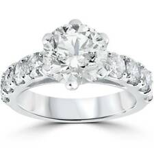 Grande 4 1/2 CT redondo mejorado Diamante Anillo 14K Oro Blanco Solitario