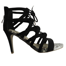 """NEW a.n.a Black & Gray Snake Skin Print Bottom Lace Up 4"""" High Heel Size 7M"""