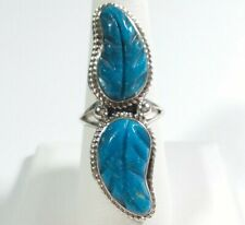NAVAJO RITA DAWES STERLING SILVER DOUBLE CARVED FEATHER TURQUOISE SIZE 7.75 RING