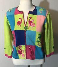 Jack B Quick Sweater Woman Sz Med Green Blue Miami Tropical Flamingo Palm Tree