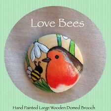 Love Bees Winter Bee Gone (Robin/Snowdrops) Large Domed Wooden Brooch