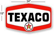 "(TEX-12) 24"" X 15"" TEXACO SHIELD GASOLINE DECALS GAS AND OIL"