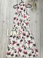 M&S 10 12 20 22 white pink floral hight neck floaty holiday summer dress BNWT