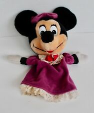 """New listing Vintage Applause Disney Minnie Mouse Hand Puppet Plush Toy Purple Dress 12"""" Long"""