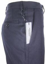 NEWT VERSACE DARK BLUE STRETCH WOOL FLATFRONT DRESS PANTS 100%AUTH 40 56 IT