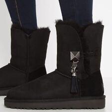 NWB Ugg Australia Lilou Sheepskin Black Boots Size 6