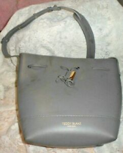 Teddy Blake Gray Bucket Bag Leather Handbag Purse - NWOT - No Reserve