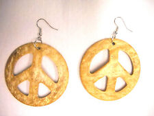 PEACE SIGN LIGHT TAN BROWN COLOR COCONUT WOOD DANGLING HIPPIE FASHION EARRINGS
