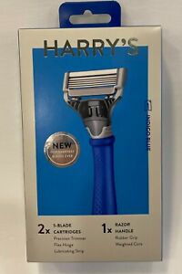 Harry's Men's Razor: Indigo Blue Handle and 2 Razor Blade Refills NEW