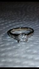 White Gold 18K Diamond Ring Princess Cut Solitaire aproximated 1/2 carats