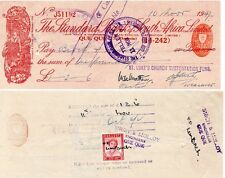 1947 Southern Rhodesia Standard Bank S.A.1d Cheque with QE2 1d. revenue receipt.