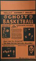 Vintage Original 1950s Halloween GHOST BASKETBALL Spook Show Skeleton Poster