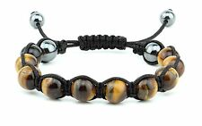 B-16. Hematite Tiger's Eye Gemstone Adjustable Shamballa Bracelet for Men Women
