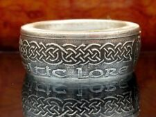 Celtic Coin Ring dual dragon head made from .999 pure Silver coin