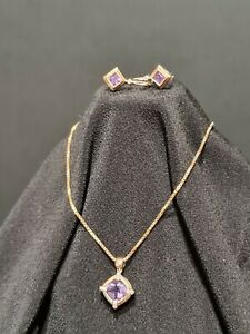 Natural Amethyst and diamonds Pendant And Earrings Set