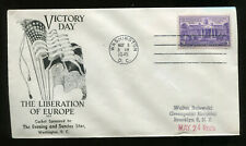 Mar 8 VE Day WWII Patriotic Cover Washington Evening Star Cachet Cat $35 FD8121