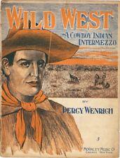 Wild West A Cowboy Indian Intermezzo 1908 vintage sheet music