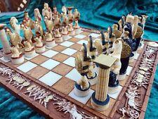 Schachspiel Schachbrett Alabaster Figuren Handmalerei Art Statutes Handarbeit
