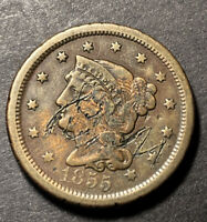 1855 Braided Hair Large Cent 1c Nice Details Collectible Type Coin Damaged