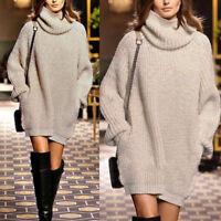 Women's Chunky Knitwear Sweater Long Sleeve Jumper Top Pullover Loose Mini Dress