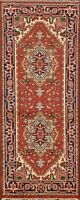 Geometric Traditional Heriz Oriental Area Rug Hand-Knotted Wool Carpet 3x6 ft