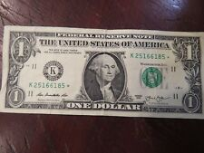 2013 $1 ONE DOLLAR BILL STAR NOTE SERIAL NUMBER K25166185* WASHINGTON