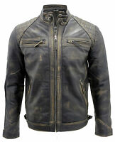 Men's Vintage Black Retro Casual Zipped 100% Leather Racing Quilted Biker Jacket