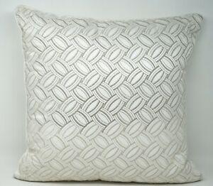 "Hudson Park Lucca Metallic Cotton Silk Embroidered 18"" Geometric Throw Pillow"