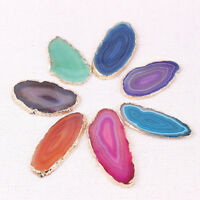 Agate Slice Gold-plated Edge Polished Crystal Healing Gem Pendant Jewelry DIY