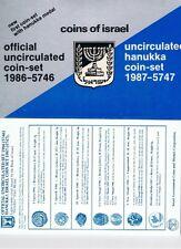 1986 Israel Mint Set+ 1987 Hanukka Coin Set ,12 Coins +hanukkah Medal+COA + Case