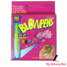 6 x Kids Blowpens Fun Washable Non Toxic Pens Stationery Blow Pens Air Spray