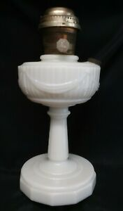 Vintage Aladdin Tall Lincoln Drape Moonstone Lamp w/ Aladdin Model 23 Burner