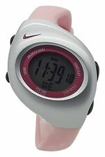 New Nike Kids Triax Junior WR0017 Vivid Pink Silver Digital Sports 38mm Watch