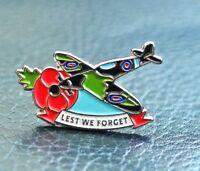 RAF SPITFIRE RED POPPY PIN BADGE LEST WE FORGET 10% donated to Veterans Charity