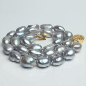 Genuine Natural HUGE 11mm Gray Baroque Pearl Necklace 17 inch long
