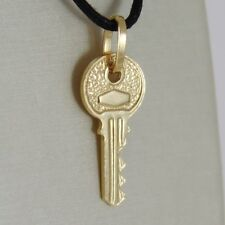 18K YELLOW GOLD FLAT KEY SMOOTH PENDANT CHARM, LUCKY, SECRET, LOVE MADE IN ITALY