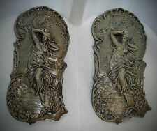 Set of 2 Victorian Female Angel Cameo Romantic Wall Plaque
